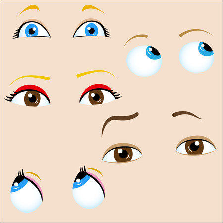 confused person: Set of 5 cartoon eyes.