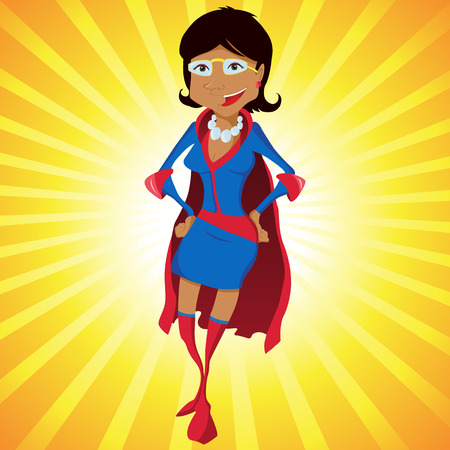 heroism: Black Super Woman Mother Cartoon with Yellow Background.