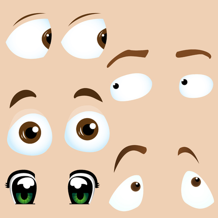Set of 5 cartoon eyes. Editable  Illustration Vector