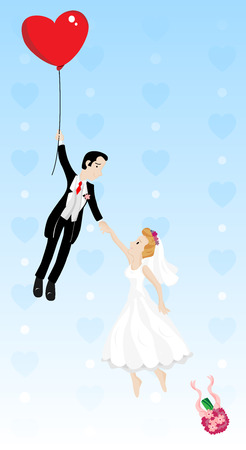 bridegroom: Just married couple flying with a heart shaped balloon. Highly detailed  image.