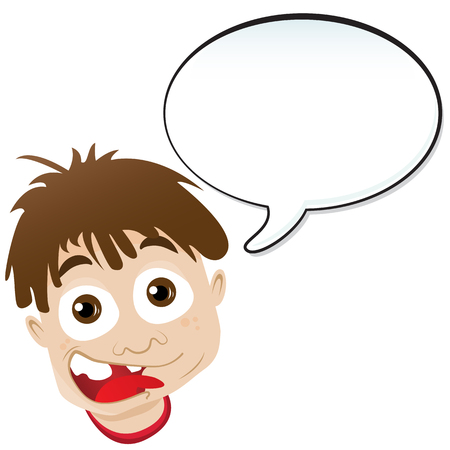 Boy announcement with speech bubble. Editable  illustration Vector