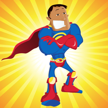 Black Super Man Hero Dad. Editable  Illustration Vector