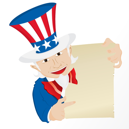 state government: Uncle Sam Holding Sign. Editable Illustration