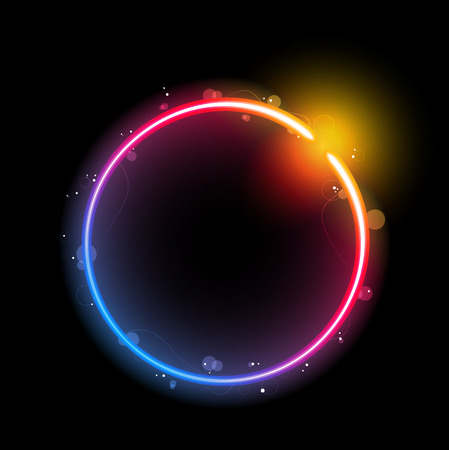 Rainbow Circle Border with Sparkles and Swirls. Stock Vector - 7159910