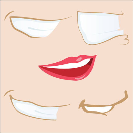 Set of 5 cartoon mouths.  Vector