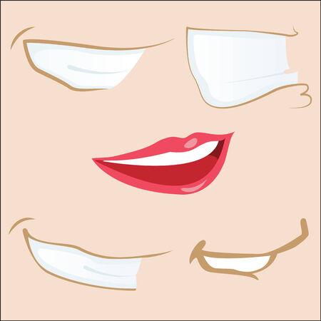 Set of 5 cartoon mouths.  Vector
