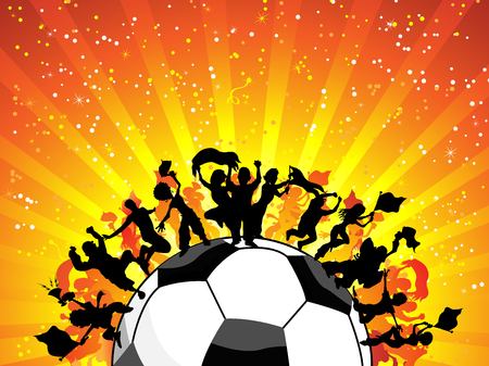 Huge Crowd Celebrating Soccer Game.  Vector