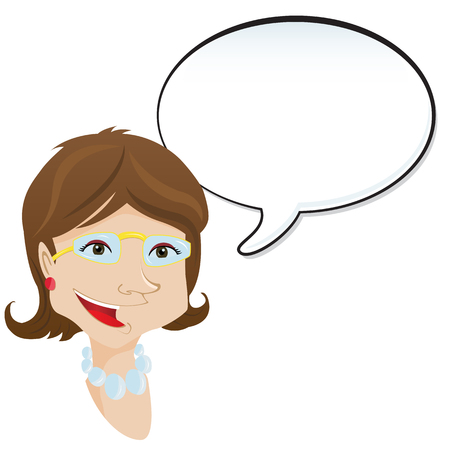 Woman announcement with speech bubble.  Vector