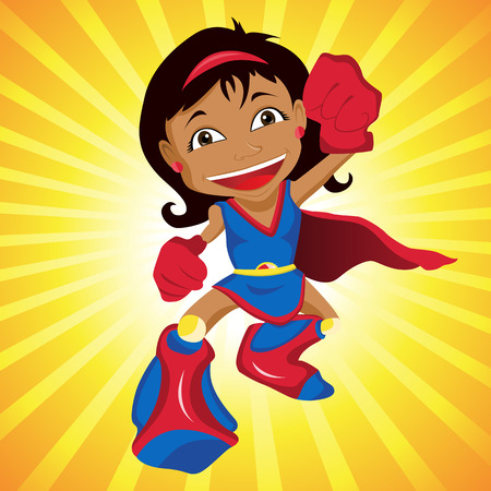 Black Super Girl.  Vector