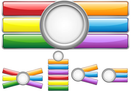 Glossy web buttons with colored bars. Stock Vector - 7220740