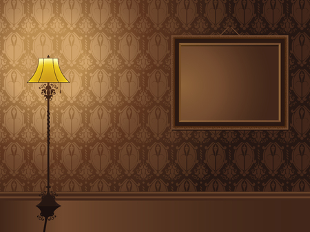 wall hanging: Vintage Frame hanging on wall with antique lamp. Editable Vector Illustration