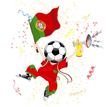 bandera de portugal: Fan de fútbol de Portugal con cabeza de Ball. Ilustración editable de vector  Vectores
