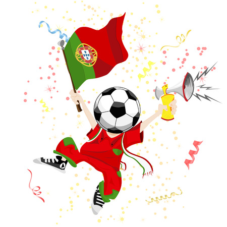 soccer stadium crowd: Portugal Soccer Fan with Ball Head. Editable Vector Illustration