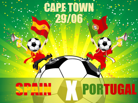 Spain Versus Portugal Soccer Game. Editable vector Illustration Vector