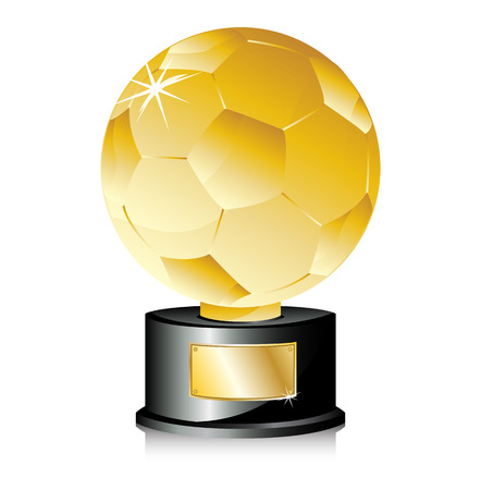 champions league: Golden Ball Soccer Trophy Champion. Editable Vector Illustration