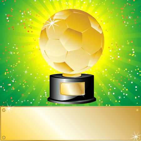 top of the world: Golden Ball Soccer Trophy Champion. Editable Vector Illustration