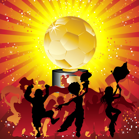 Soccer crowd silhouette with golden trophy. Editable Vector Illustration Vector