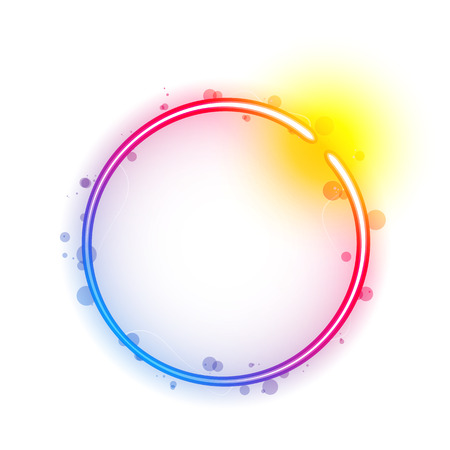 Rainbow Circle Border with Sparkles and Swirls. Illustration Vector