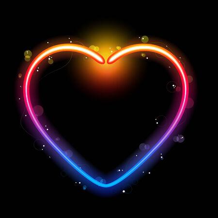 corazones azules: Borde de coraz�n de arco iris con Sparkles y espirales. Ilustraci�n