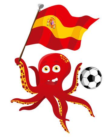 jugador de futbol soccer: Jugador de Soccer de pulpo holding de la bandera de Espa�a. Ilustraci�n  Vectores