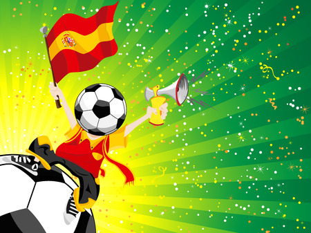 soccer stadium crowd: Spain Soccer Winner.  Illustration