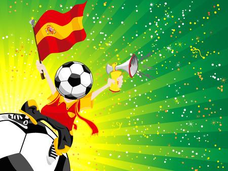 spanish flag: Spain Soccer Winner.  Illustration