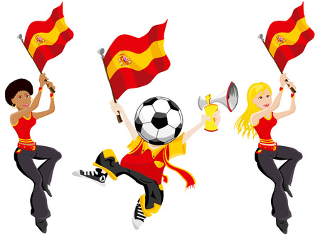 supporters: Spain Soccer Supporters. Editable Vector Illustration