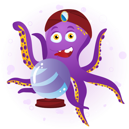 Octopus Fortune Teller with Crystal Ball.  Illustration Vector