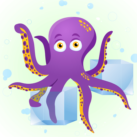 Octopus Fortune Teller with Crystal Cube.  Stock Vector - 7403862