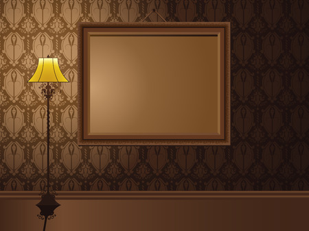 Vintage Frame hanging on wall with antique lamp.  Vector