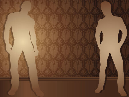 Sexy boys against damask background Vector
