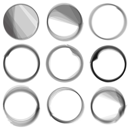 Series of hand drwn ink circles. Vector