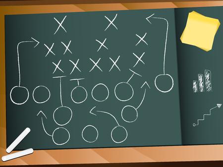 Teamwork Football Game Plan strategie  Vector Illustratie