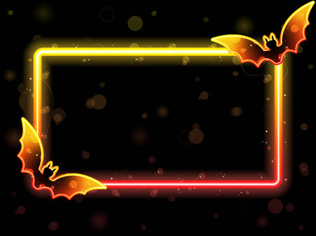 Halloween Lights Frame with Bats Stock Vector - 7428338