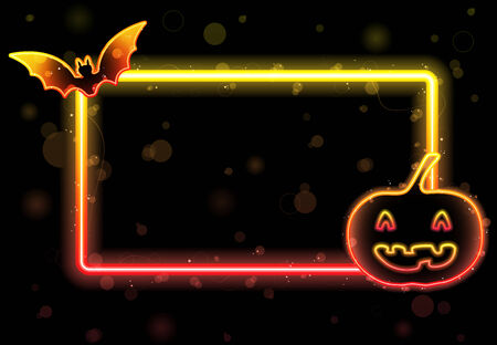 Halloween Lights Frame with Bat and Pumpkin Stock Vector - 7474270
