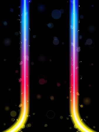 Rainbow Lines Border with Sparkles and Swirls. Stock Vector - 7474283