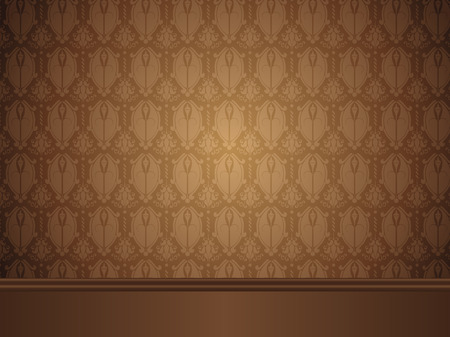 Vintage Room with wood floor and seamless wallpaper. Vector