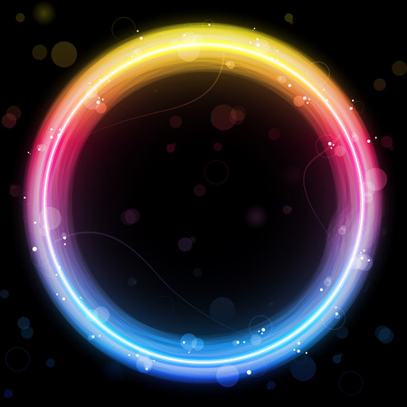 Rainbow Circle Border with Sparkles and Swirls. Illustration