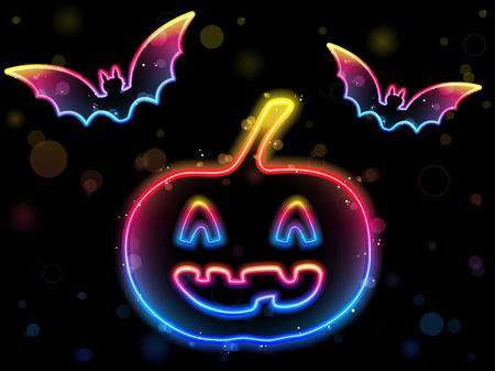 Halloween Neon Background with Pumpkin and Bats Stock Vector - 7547265