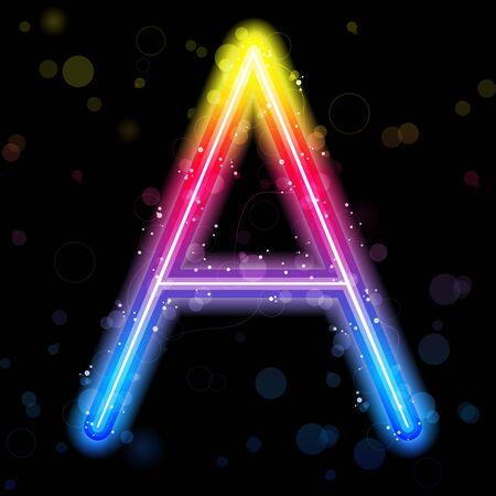 illuminating: Alphabet Rainbow Lights  Glitter with Sparkles Illustration