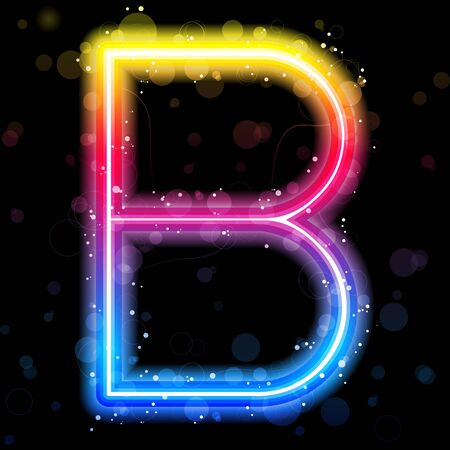 Alphabet Rainbow Lights  Glitter with Sparkles Vector