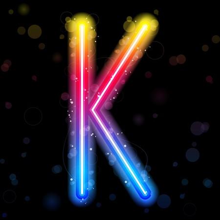 Alphabet Rainbow Lights  Glitter with Sparkles Vector