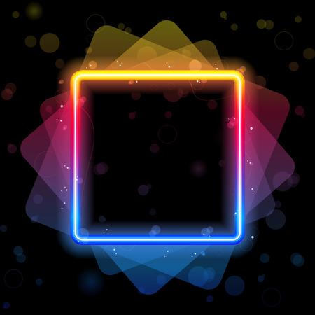 Rainbow Square Border with Sparkles and Swirls. Иллюстрация