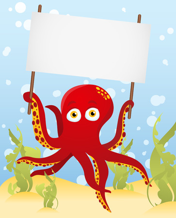 Octopus holding blank sign Stock Vector - 7603551