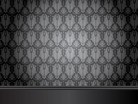 piso negro: Vintage habitaci�n con suelo de madera y papel tapiz transparente.