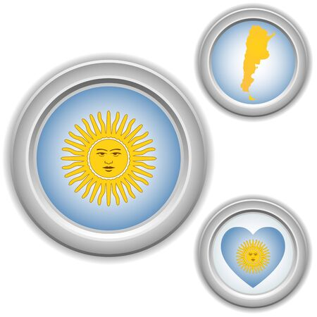 Argentina Buttons with heart, map and flag Vector
