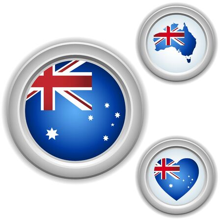 Australia Buttons with heart, map and flag Vector