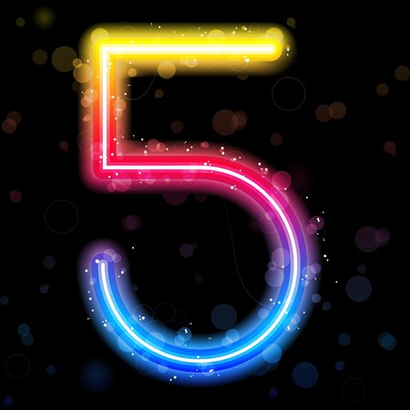 Number Rainbow Lights  Glitter with Sparkles Vector