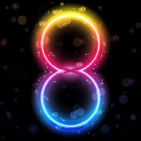 Números de arco iris de luces Glitter con destellos