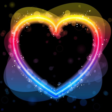 Rainbow Heart Border with Sparkles and Swirls. Vector